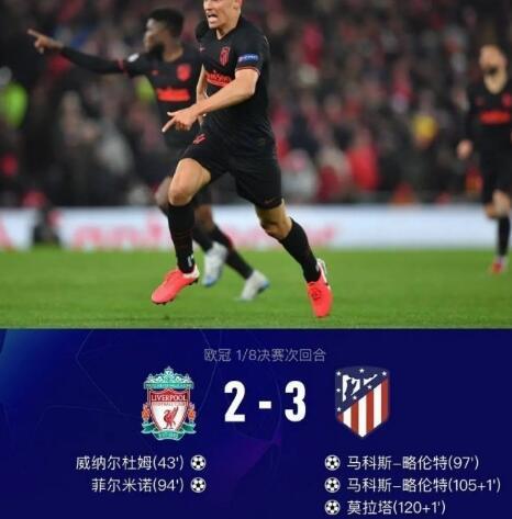 欧冠-略伦特加时独造3球,马竞双杀利物浦总分4-2晋级