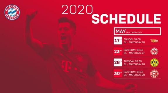 2020/05/15 三种足球体能测试的对比分析及对策研究 拜仁未来四战比赛时间:5月27日客战多特